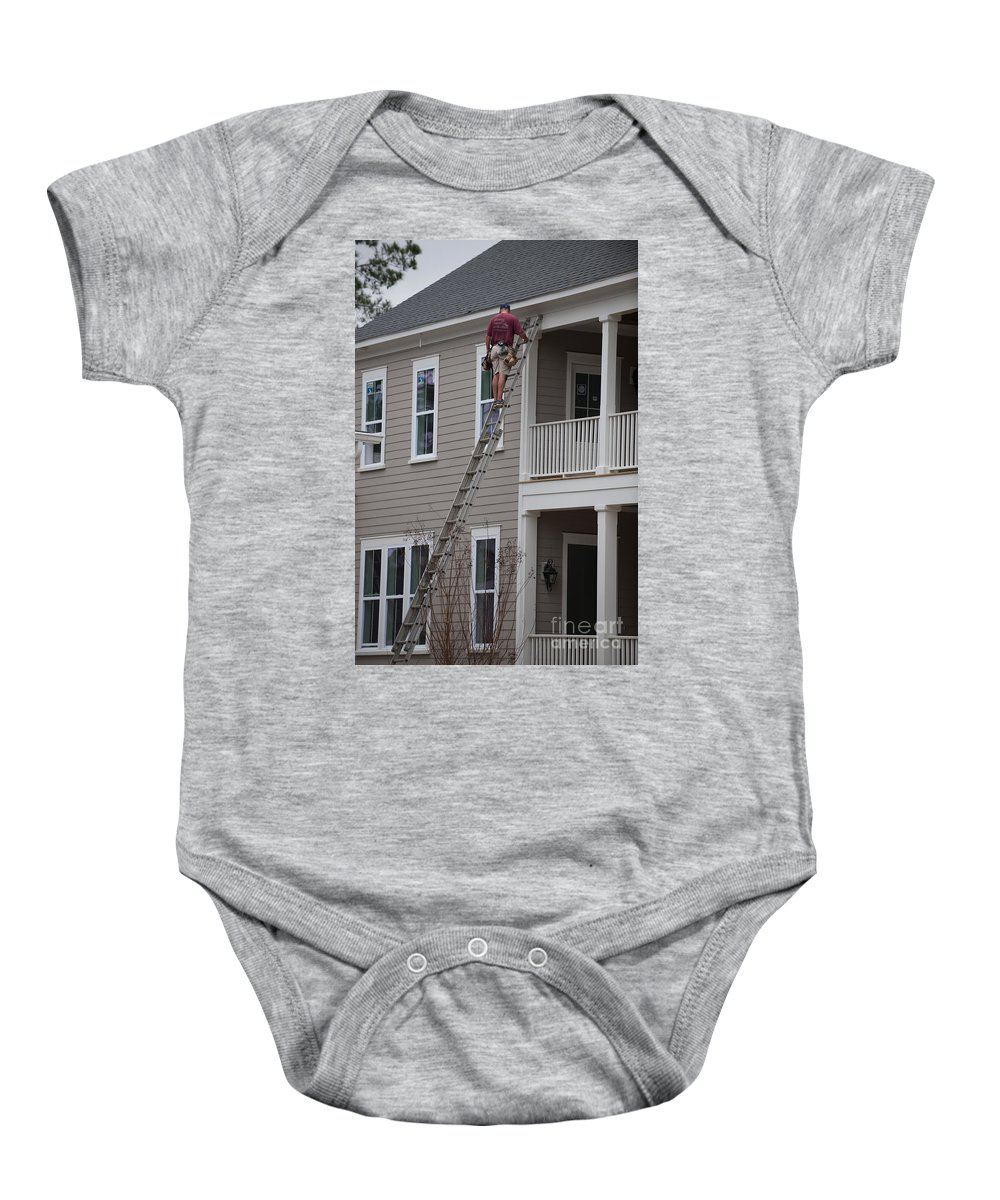 Man On Ladder Baby Onesie featuring the photograph Home Construction by Dale Powell