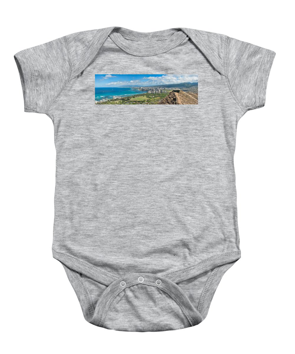 Hawaii Baby Onesie featuring the photograph Honolulu From Diamond Head Crater by Dan McManus