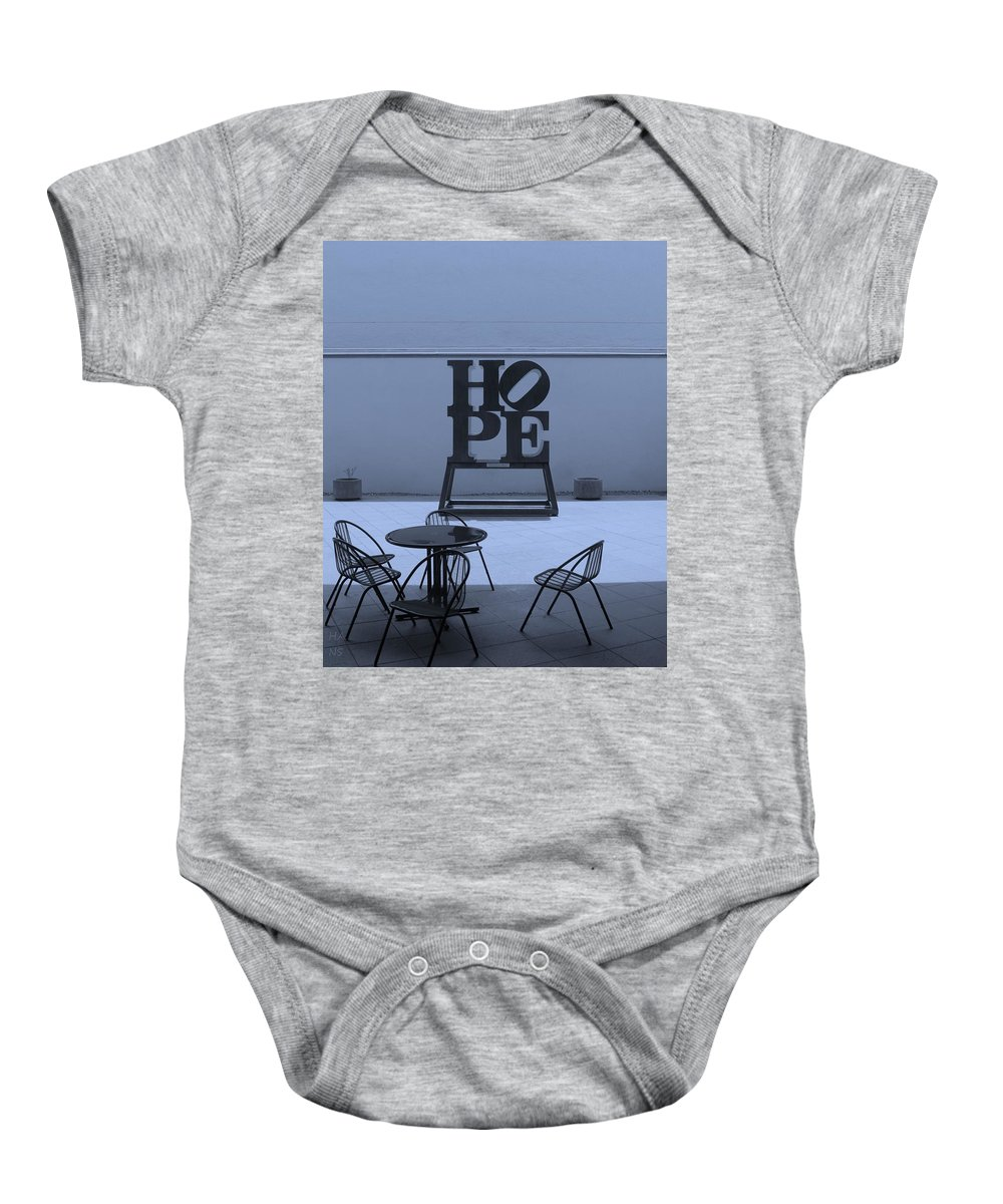 Hope Baby Onesie featuring the photograph Hope And Chairs In Cyan by Rob Hans