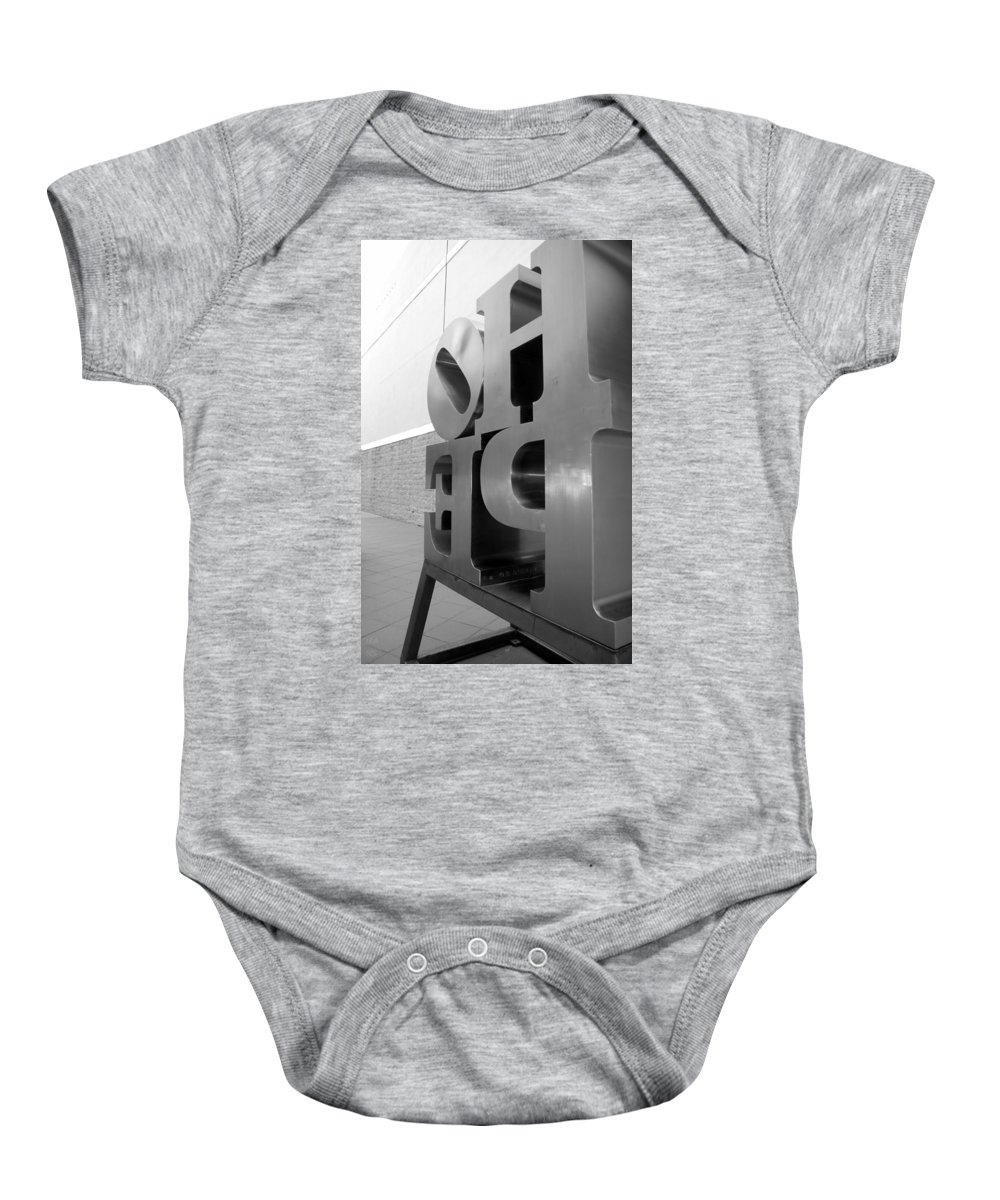 Hope Baby Onesie featuring the photograph Hope Askew In Black And White by Rob Hans