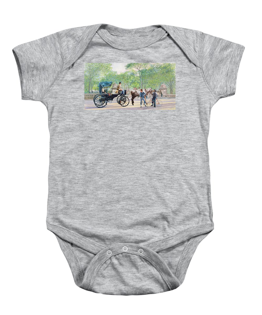 Transport Baby Onesie featuring the painting Horse And Carriage by Anthony Butera
