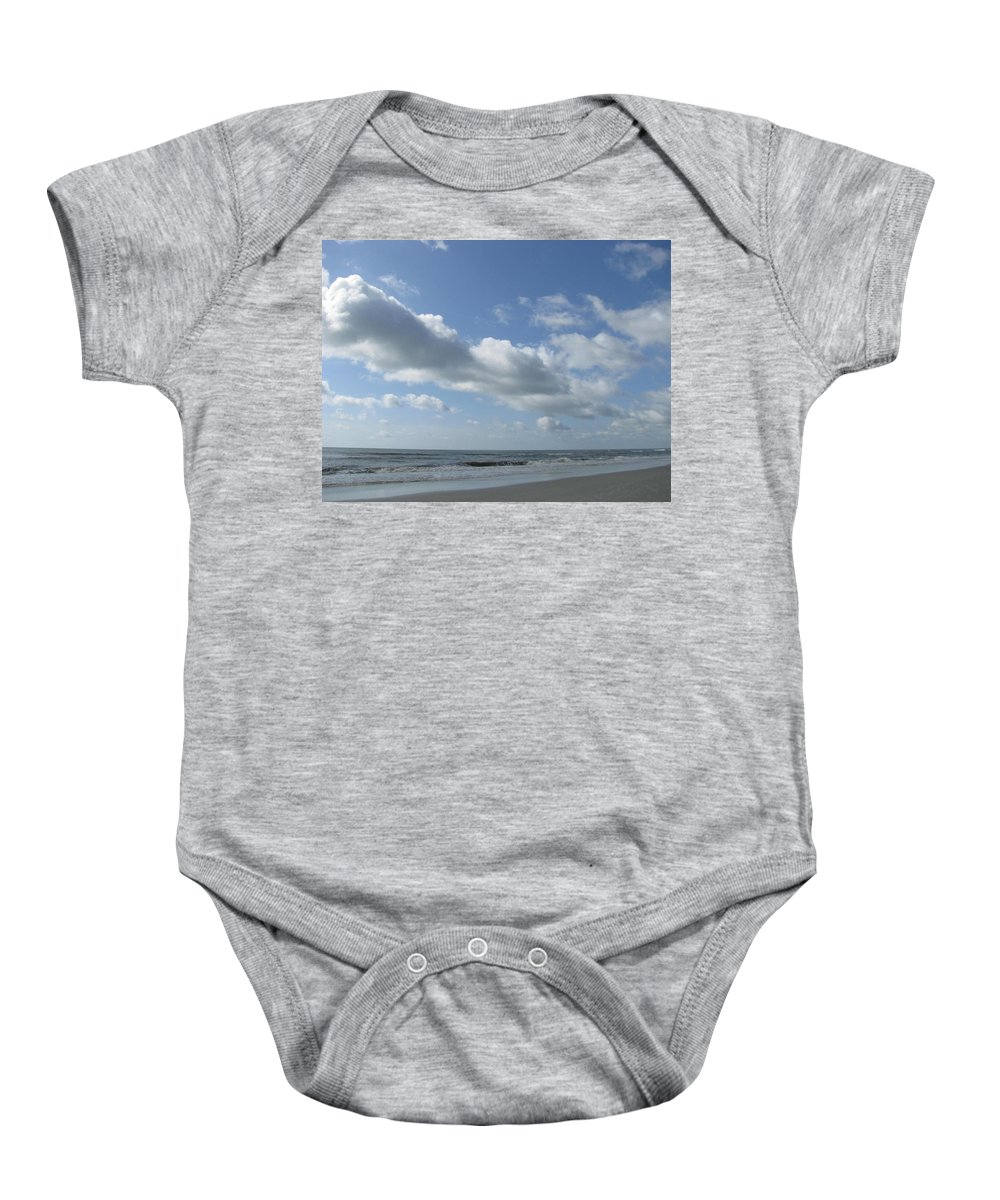 Landscape Baby Onesie featuring the photograph Horse Head Cloud by Ellen Meakin