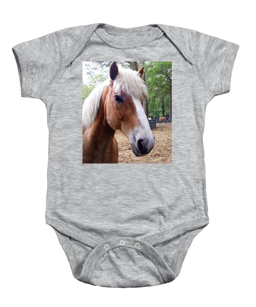 Duane Mccullough Baby Onesie featuring the photograph Horse Head by Duane McCullough