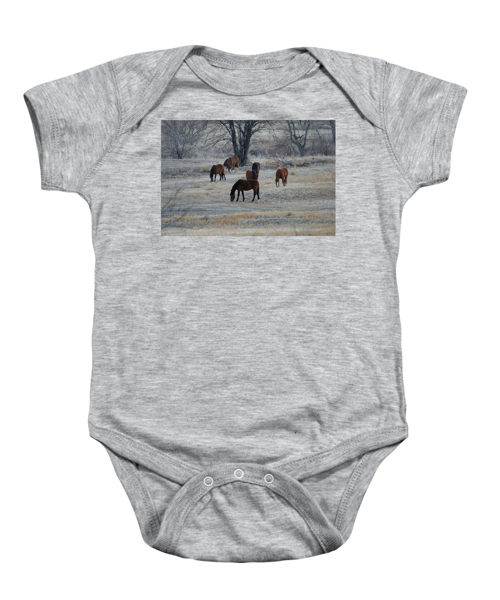 Fields Baby Onesie featuring the digital art Horses by Ernie Echols