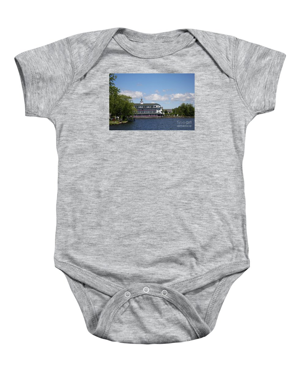 Lake Baby Onesie featuring the photograph Hotel At Lake Winnipesaukee by Christiane Schulze Art And Photography