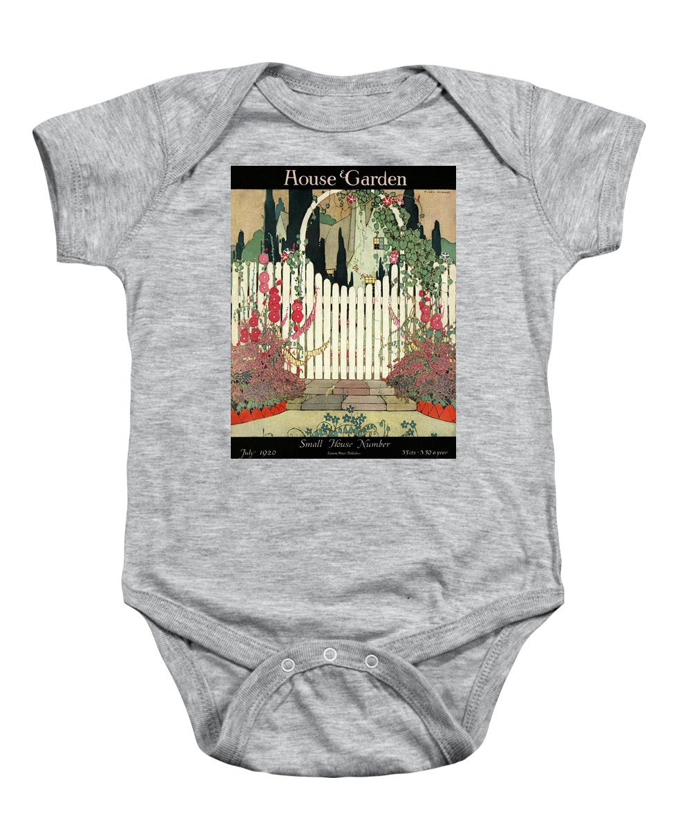 House And Garden Baby Onesie featuring the photograph House And Garden Small House Number by H. George Brandt