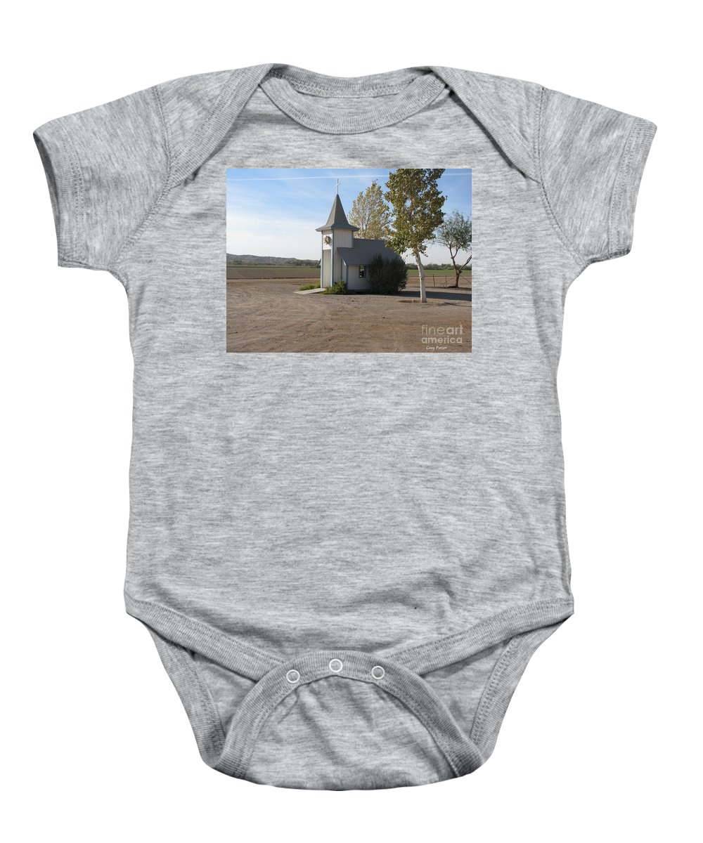 Patzer Baby Onesie featuring the photograph House Of The Lord by Greg Patzer