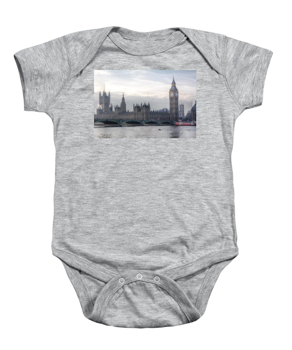 December Baby Onesie featuring the photograph Houses Of Parliament by Leah Palmer