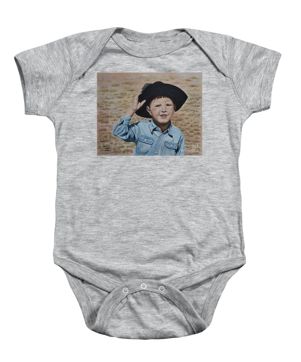 Usa Baby Onesie featuring the painting Howdy Ma'am by Mary Rogers