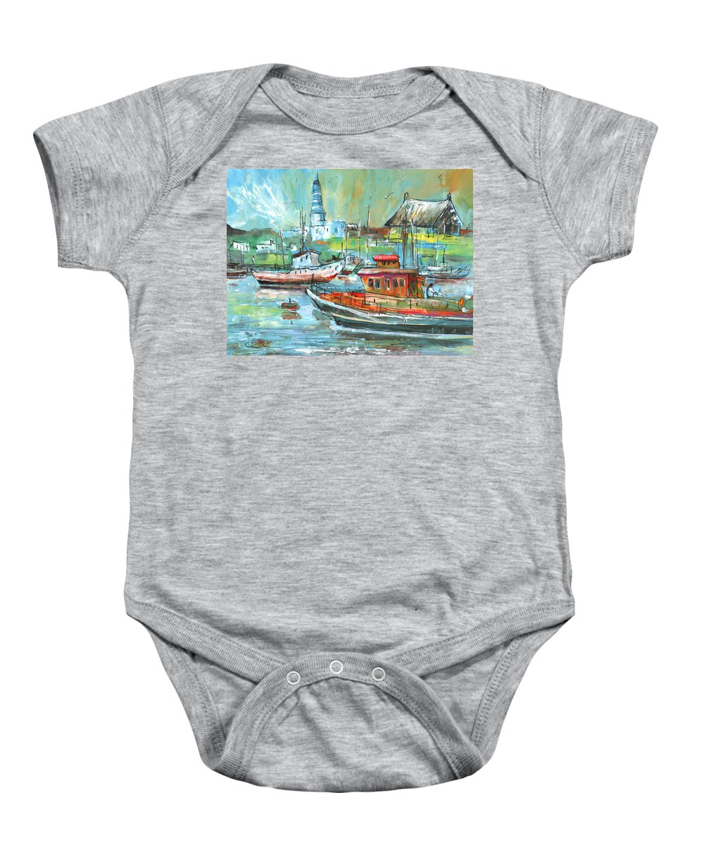 Travel Baby Onesie featuring the painting Howth Harbour 01 by Miki De Goodaboom