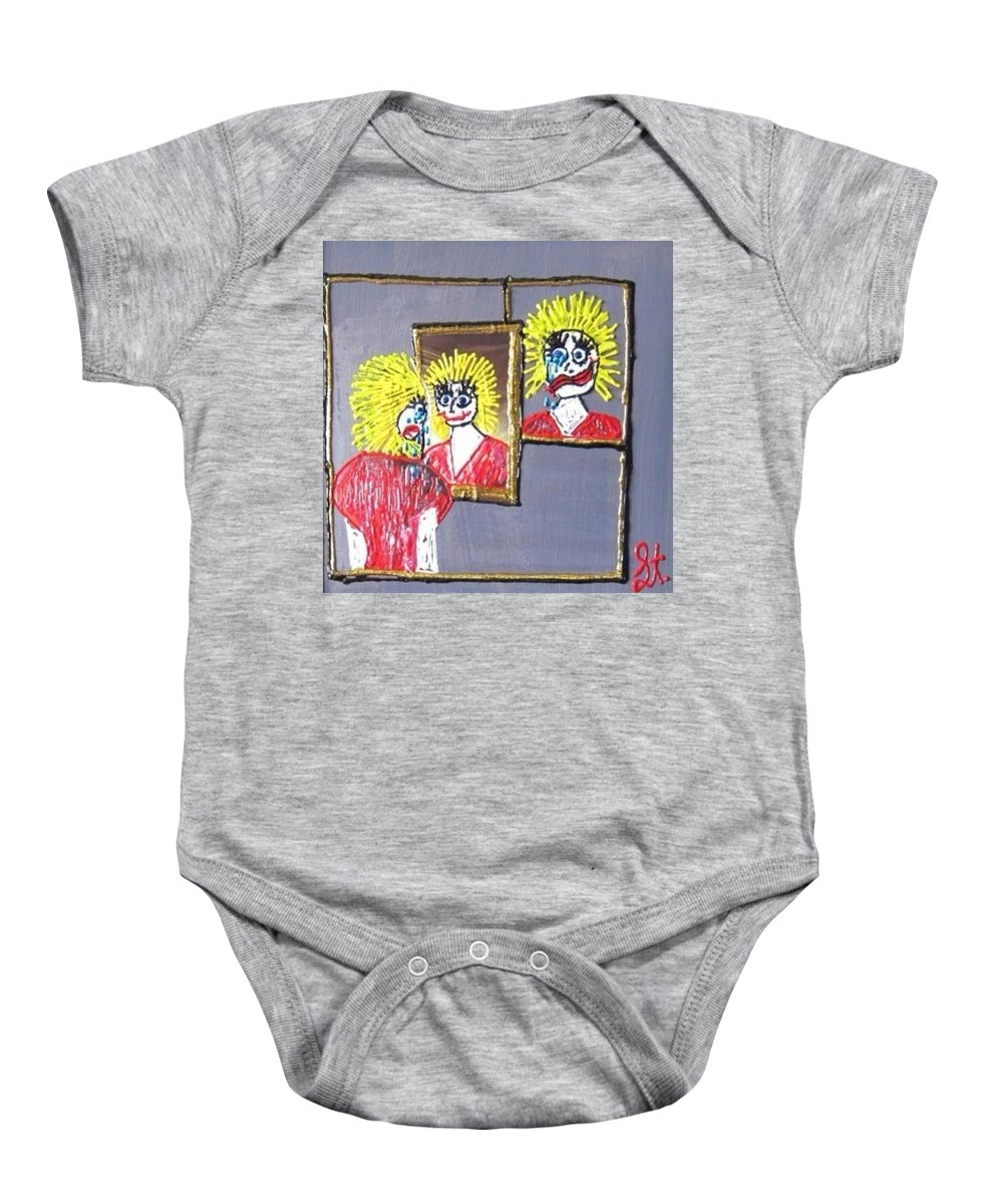 Mental Health Baby Onesie featuring the painting I Am Bipolar 2 by Lisa Piper