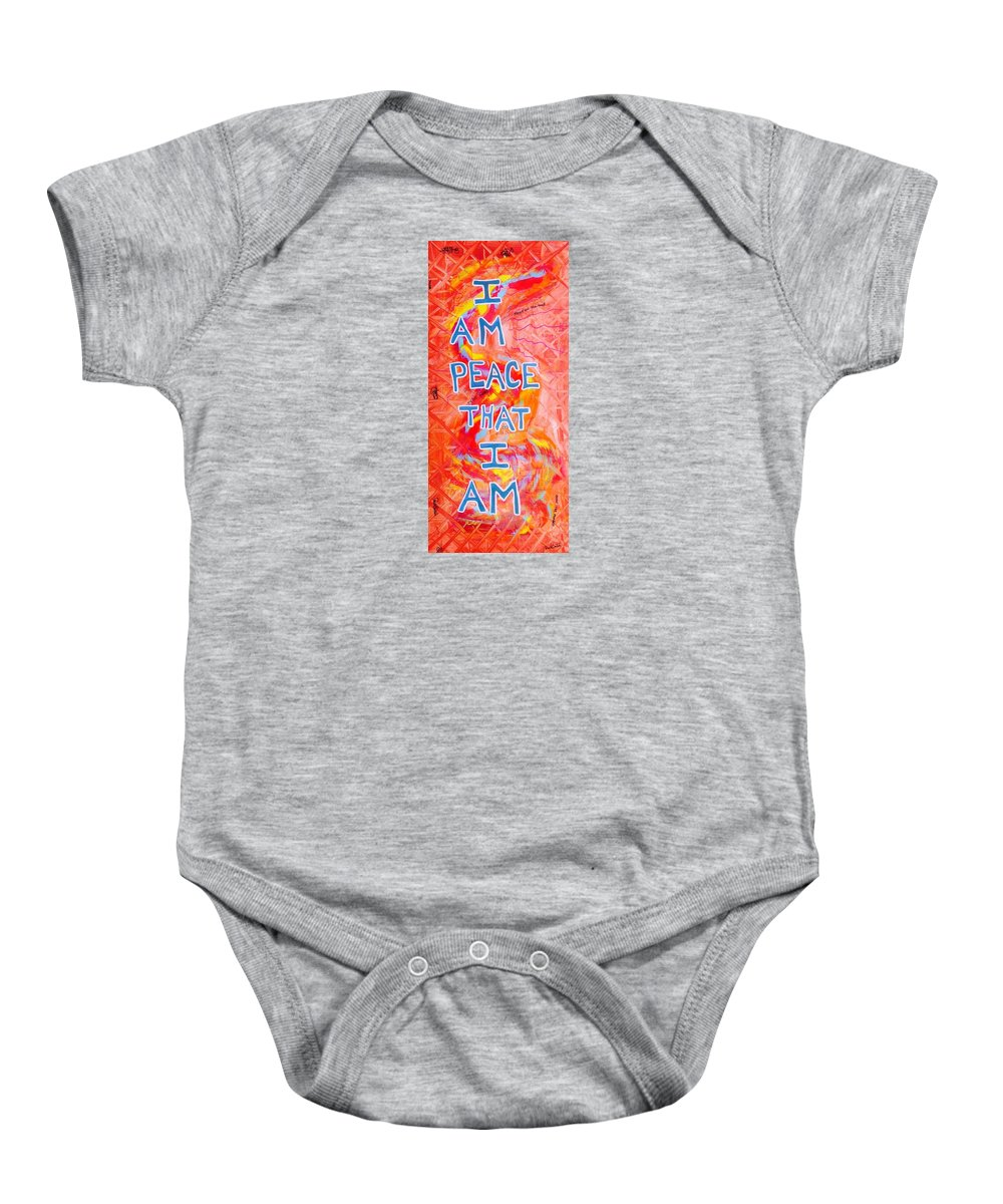 Iampeace Baby Onesie featuring the painting I Am Peace by Paul Carter