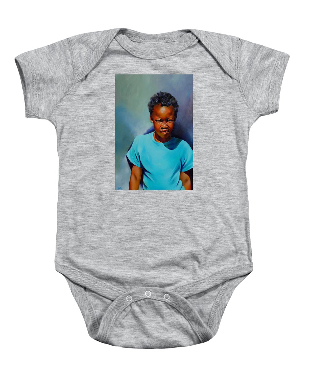 Portrait Baby Onesie featuring the painting I Am Somebody by Jolante Hesse
