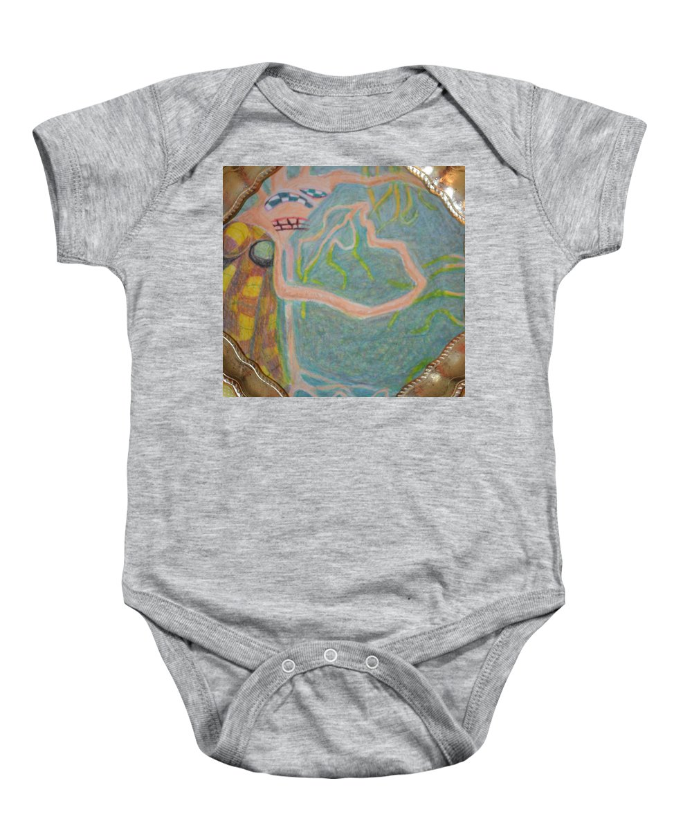 Abstract Modern Outsider Raw Woman Figure Dress Folk Surreal Lady Baby Onesie featuring the painting I Consciously Detach Myself by Nancy Mauerman