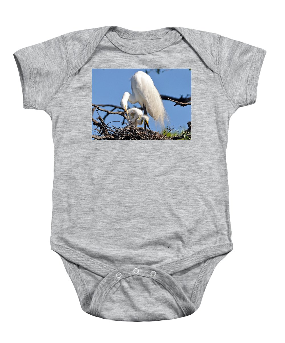 Egret Baby Onesie featuring the photograph I Do It Like My Mama by Lydia Holly