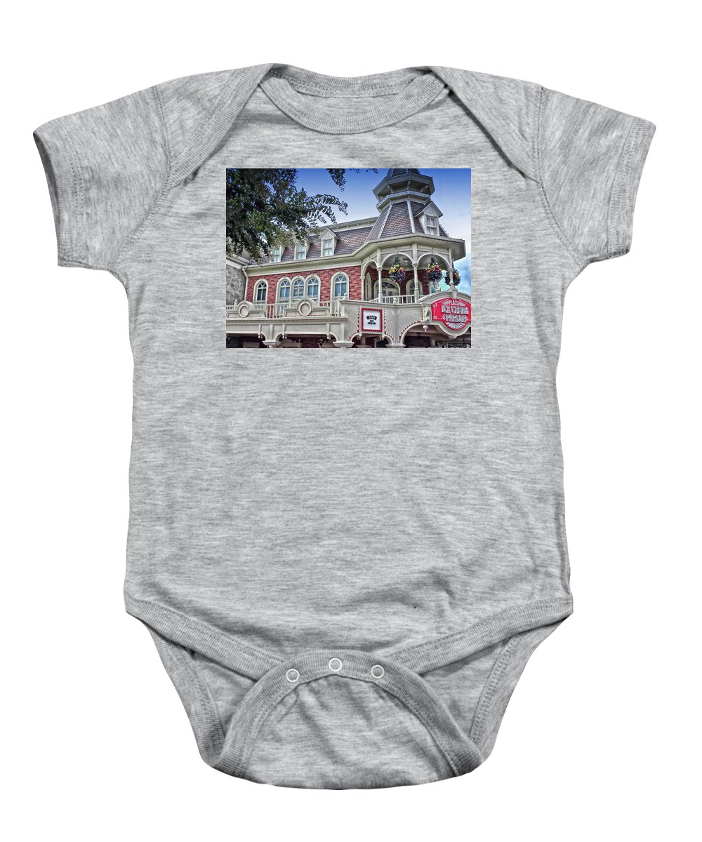 Ice Cream Parlor Baby Onesie featuring the photograph Ice Cream Parlor Main Street Walt Disney World by Thomas Woolworth