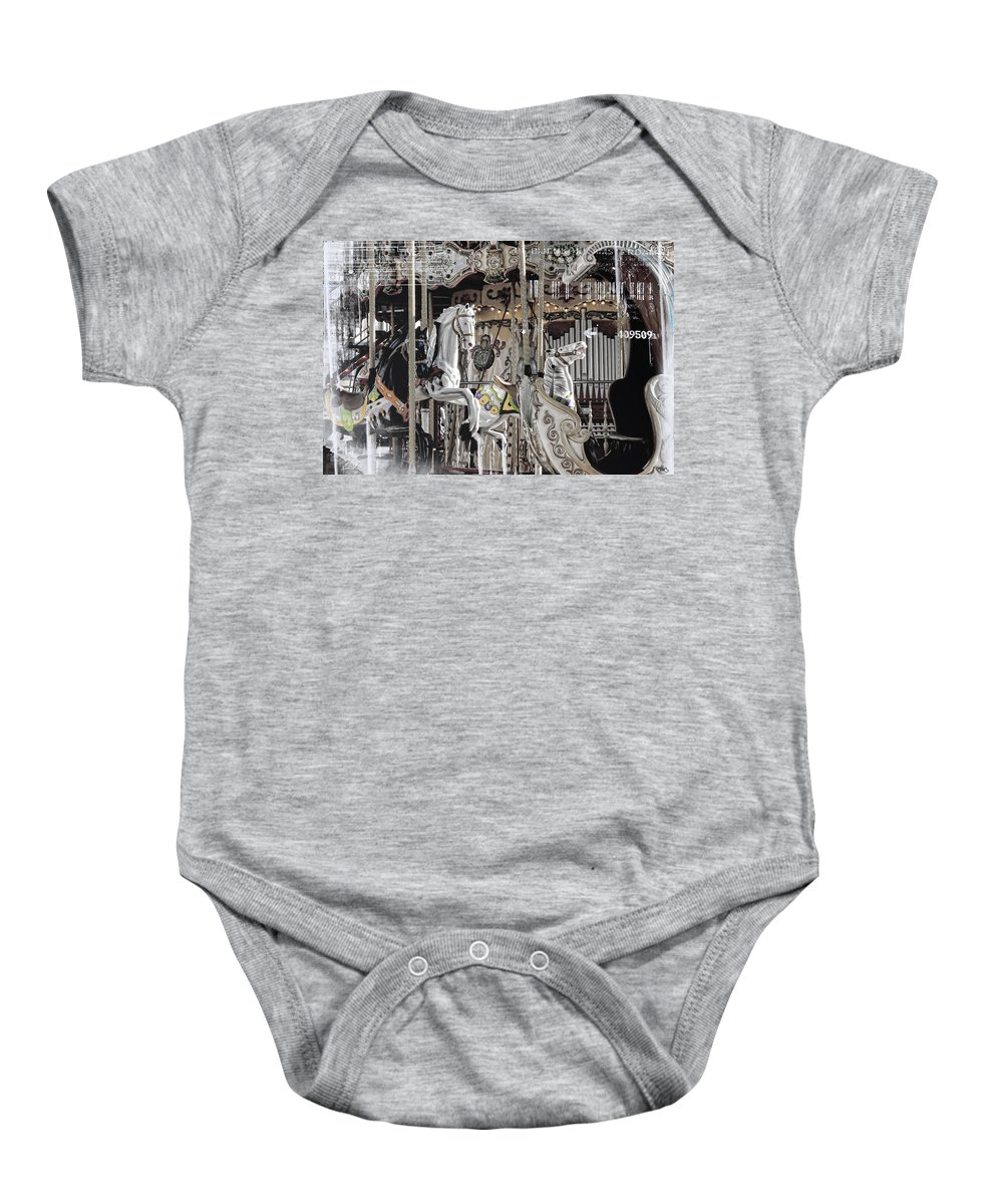 Arch Baby Onesie featuring the photograph Ice On My Carousel by Evie Carrier