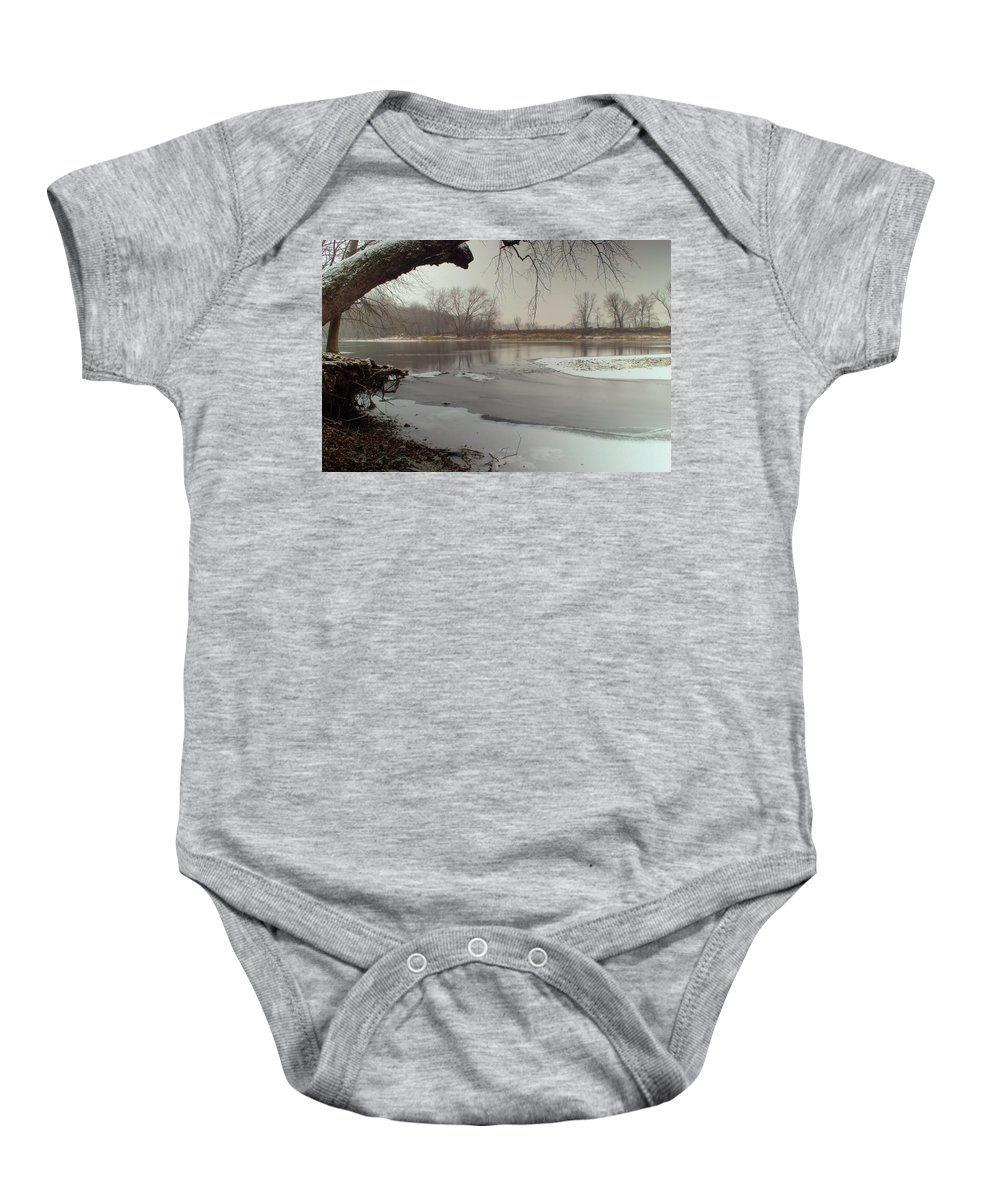 River Baby Onesie featuring the photograph Ice River by Bonfire Photography