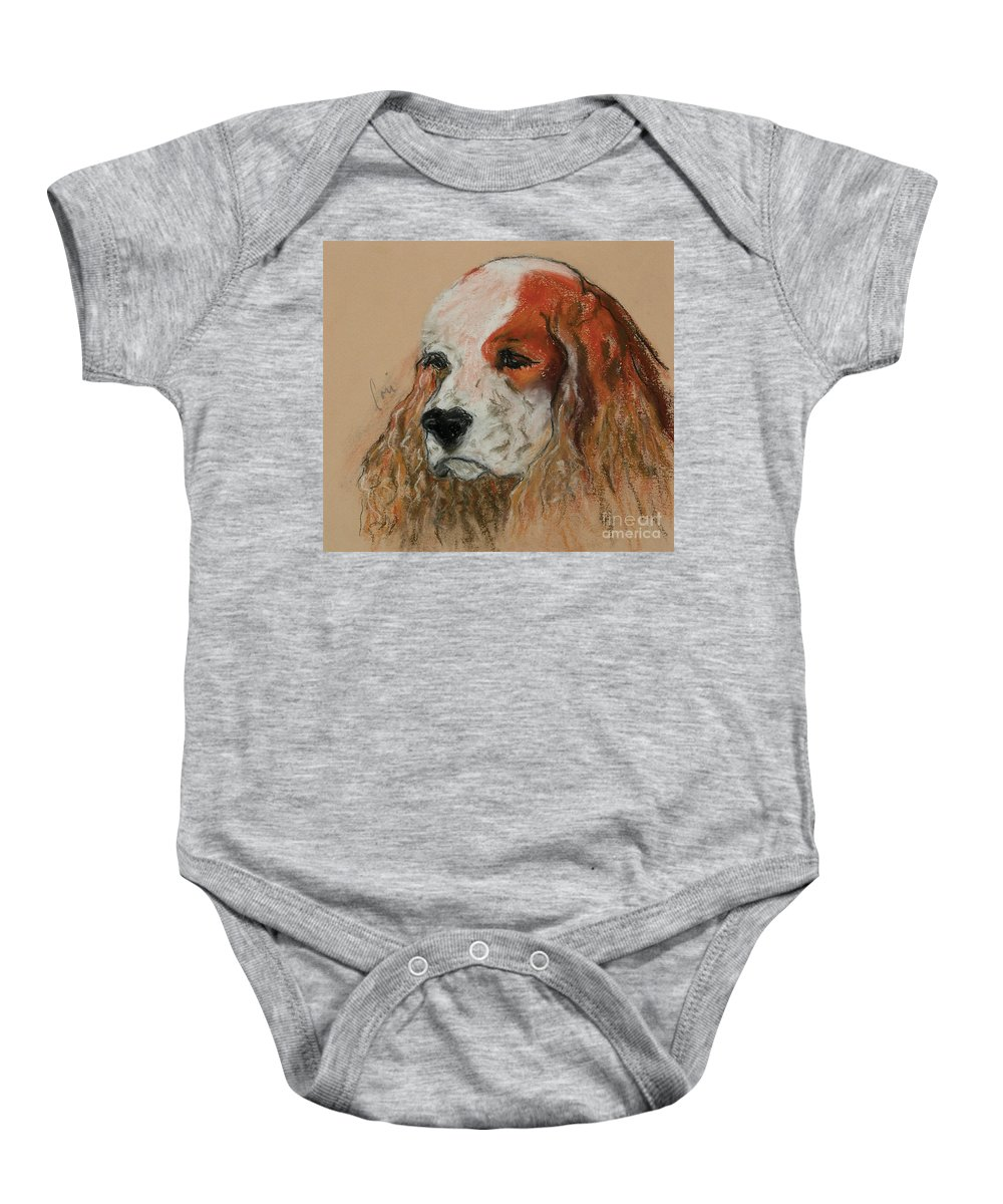 Dog Baby Onesie featuring the pastel Idle Thoughts by Cori Solomon