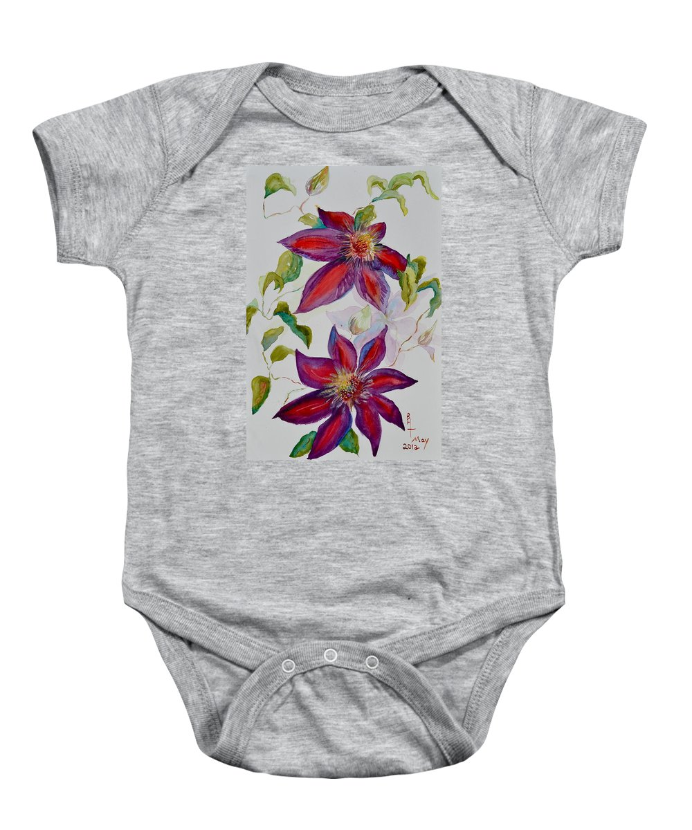 Clematis Baby Onesie featuring the painting In Grandpa's Garden by Beverley Harper Tinsley