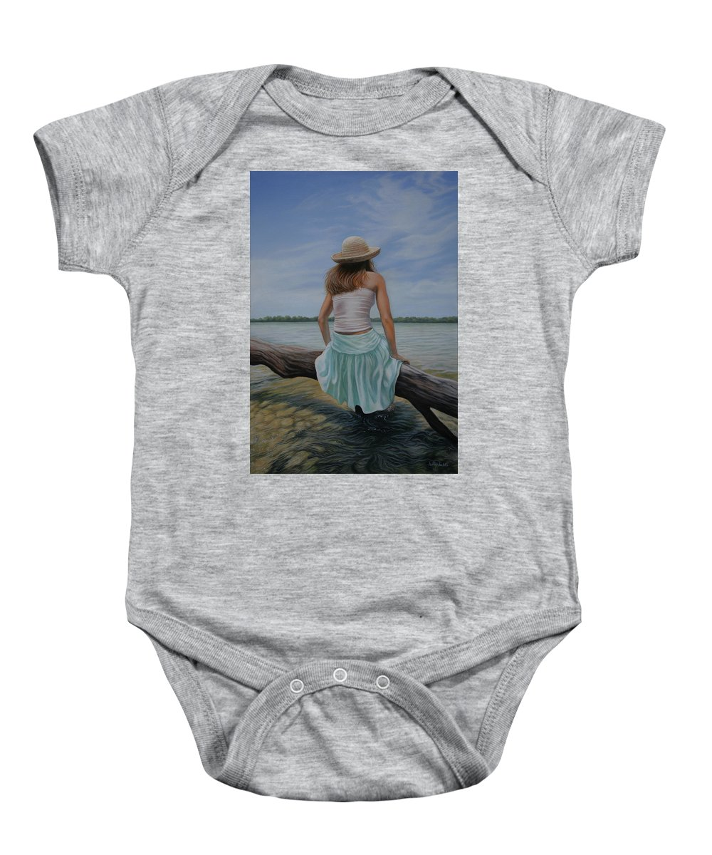 Realistic Baby Onesie featuring the painting In The Flow by Holly Kallie