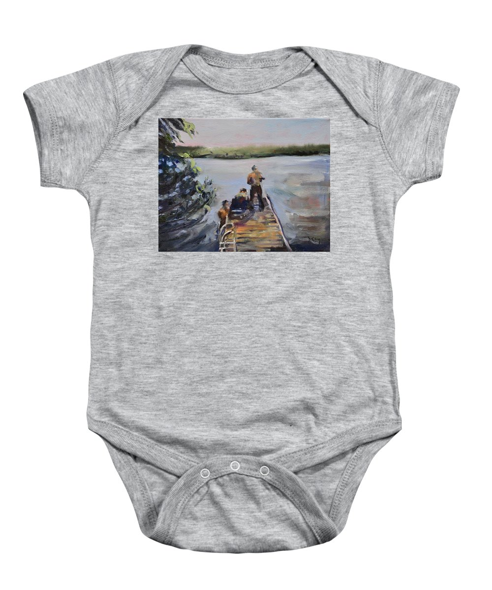 Pier Baby Onesie featuring the painting In Thy Gracious Care by Donna Tuten