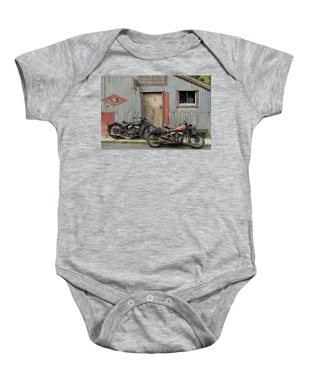 Classic Baby Onesie featuring the photograph Indian Chout And Chief Bobber At The Old Okains Bay Garage by Frank Kletschkus