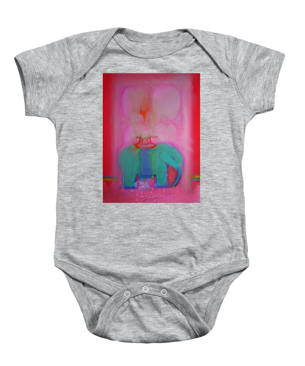 Elephant Baby Onesie featuring the painting Indian Elephant by Charles Stuart