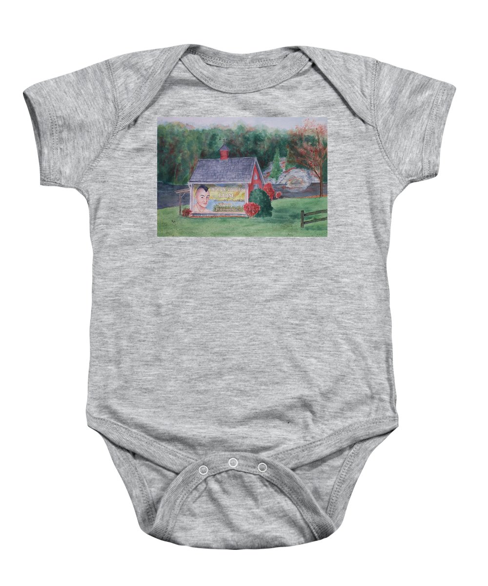 Indian Valley Farm Baby Onesie featuring the painting Indian Valley Farm by Rhonda Leonard