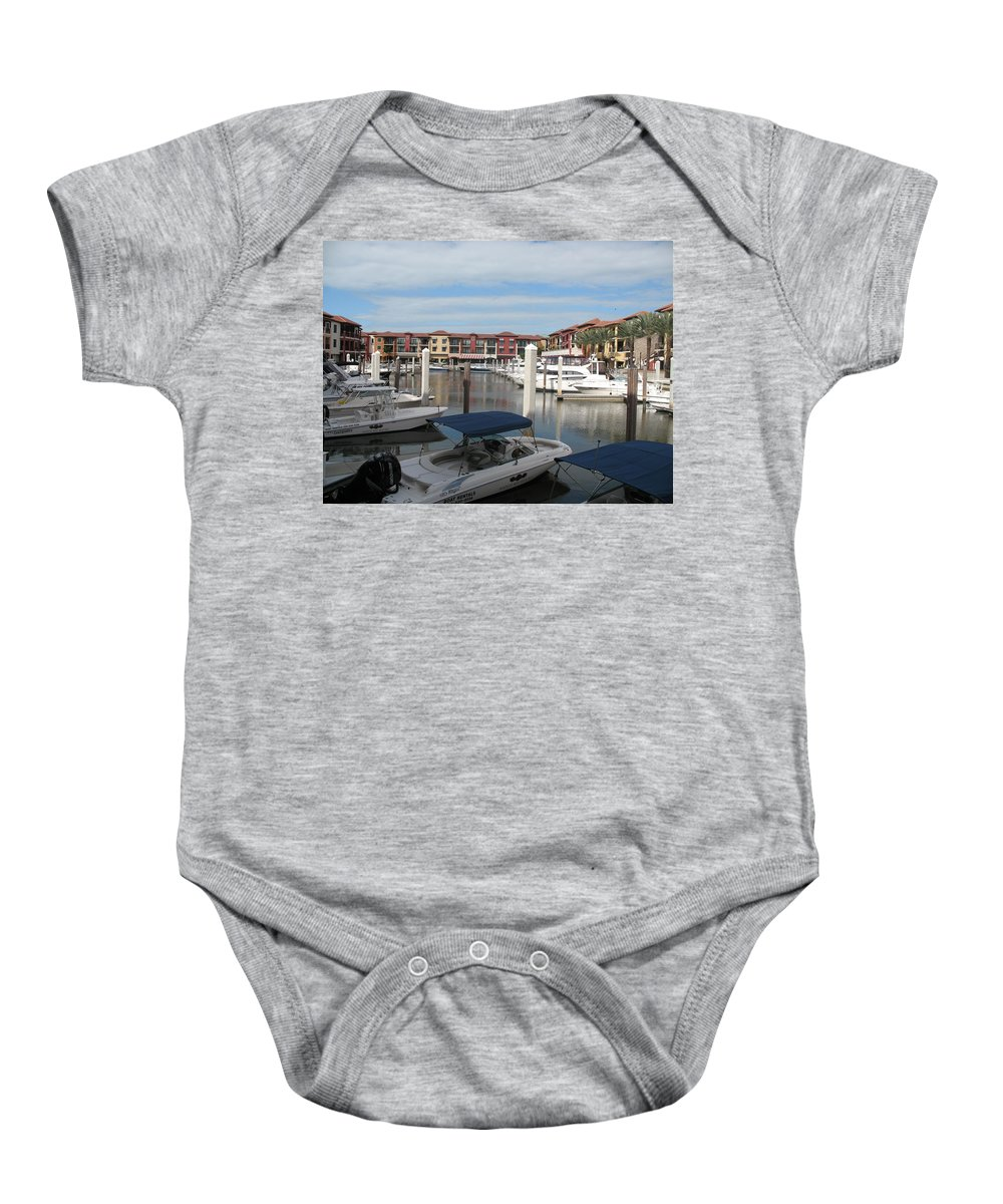 Buildings Baby Onesie featuring the photograph Inner Harbor - Naples by Christiane Schulze Art And Photography