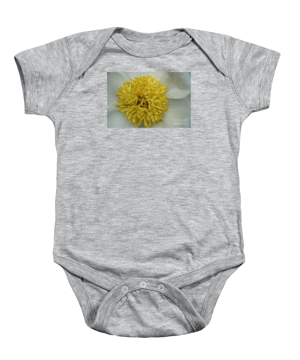 Peony Baby Onesie featuring the photograph Inner Section Of A White Peony by Christiane Schulze Art And Photography