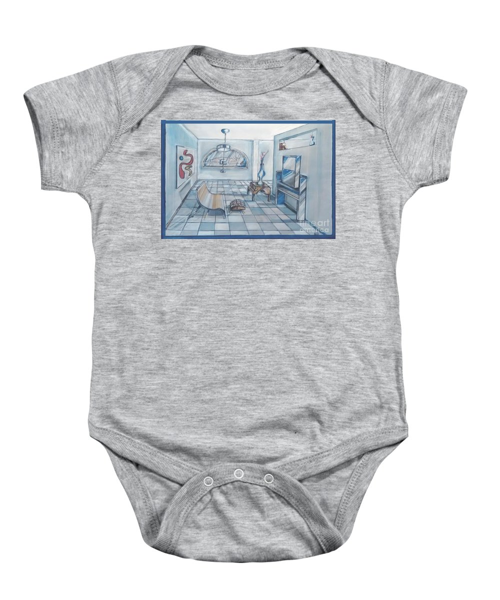 Interior Rendering Baby Onesie featuring the drawing Interior Rendering 2 by Eric Schiabor