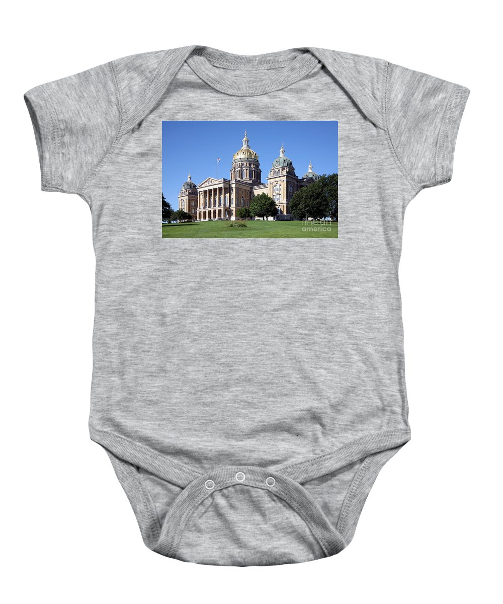 Capital Baby Onesie featuring the photograph Iowa State Capitol Des Moines by Bill Cobb