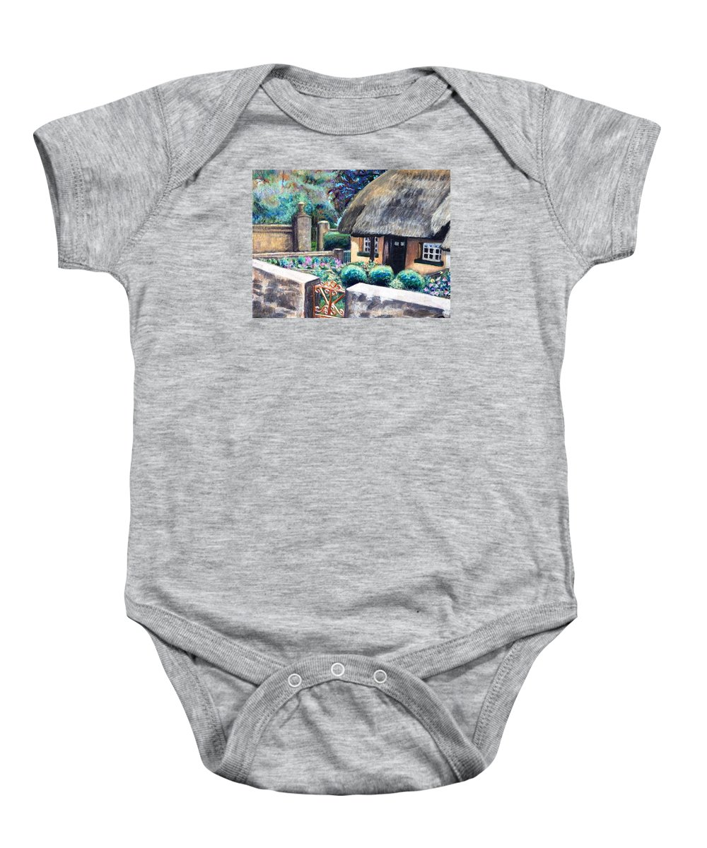 Landscape Baby Onesie featuring the painting Irish Cottage by Linda Markwardt