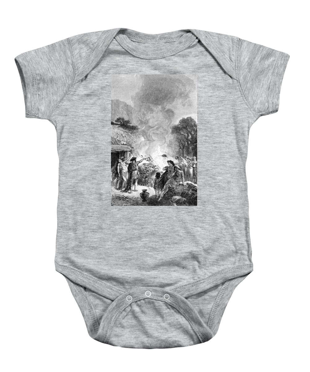 Iron Age Baby Onesie featuring the photograph Iron Age, Funeral Ceremony by British Library