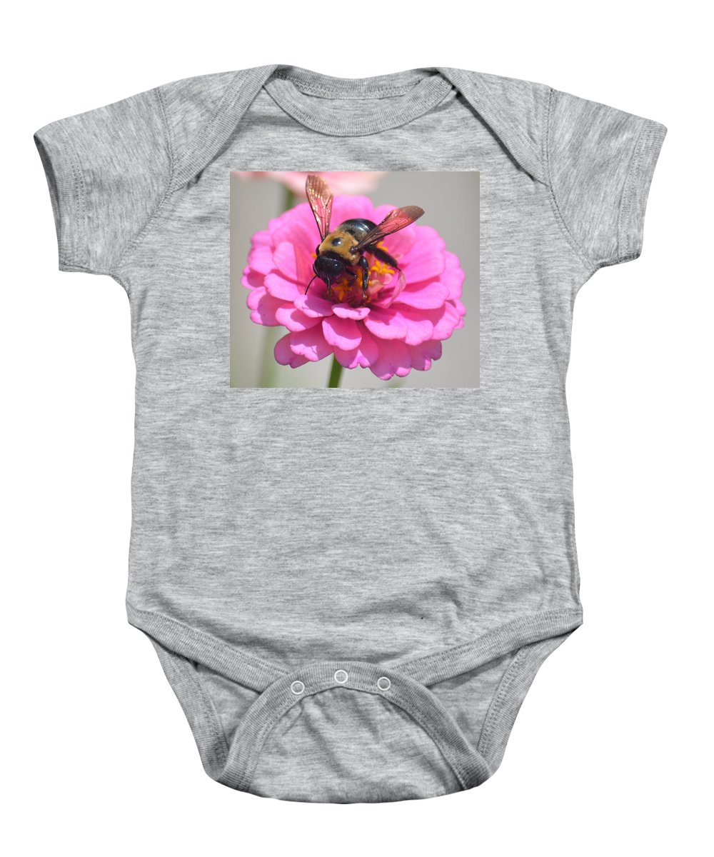 It's Mine Said The Bee Baby Onesie featuring the photograph It's Mine Said The Bee by Maria Urso