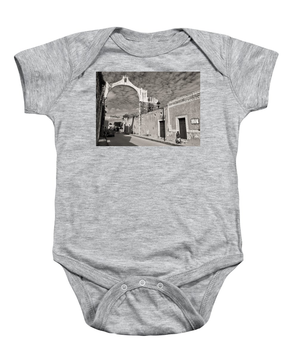 Yucatan Baby Onesie featuring the photograph Izamal Arch by For Ninety One Days