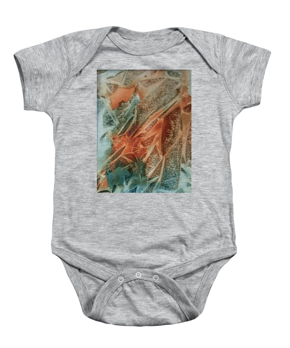 Abstract Baby Onesie featuring the painting Jagged Edges by Mary Benke
