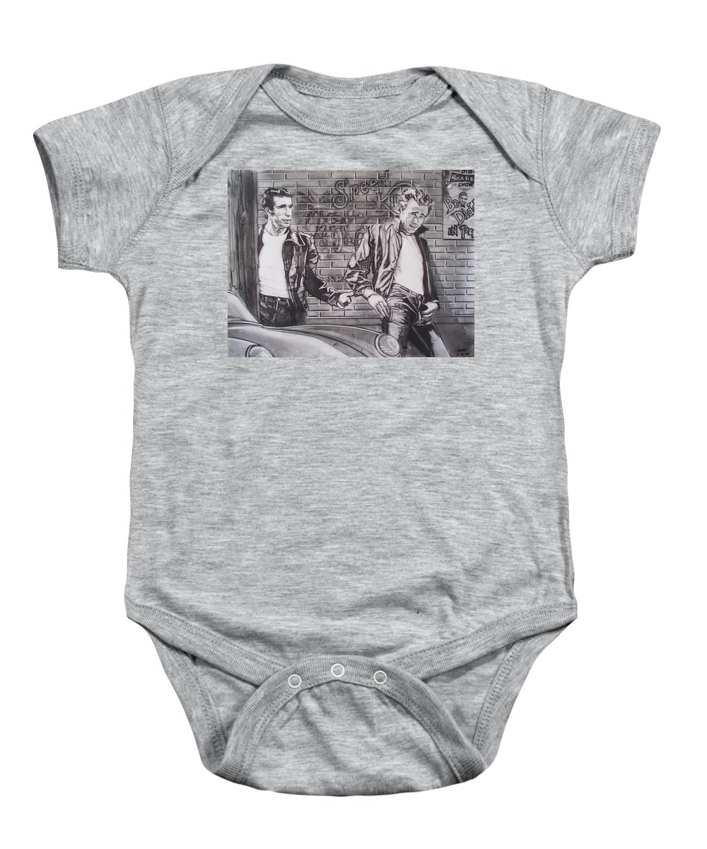 Americana Baby Onesie featuring the drawing James Dean Meets The Fonz by Sean Connolly