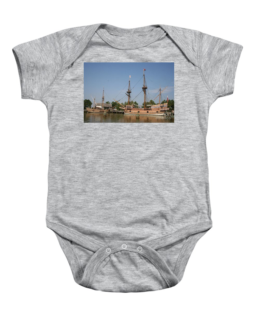 Ship Baby Onesie featuring the photograph Jamestown Historic Sailingships by Christiane Schulze Art And Photography