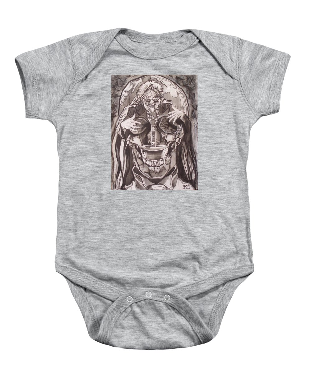 Charcoal Baby Onesie featuring the drawing Jerry Garcia . . Magic Is What We Do - Music Is How We Do It by Sean Connolly