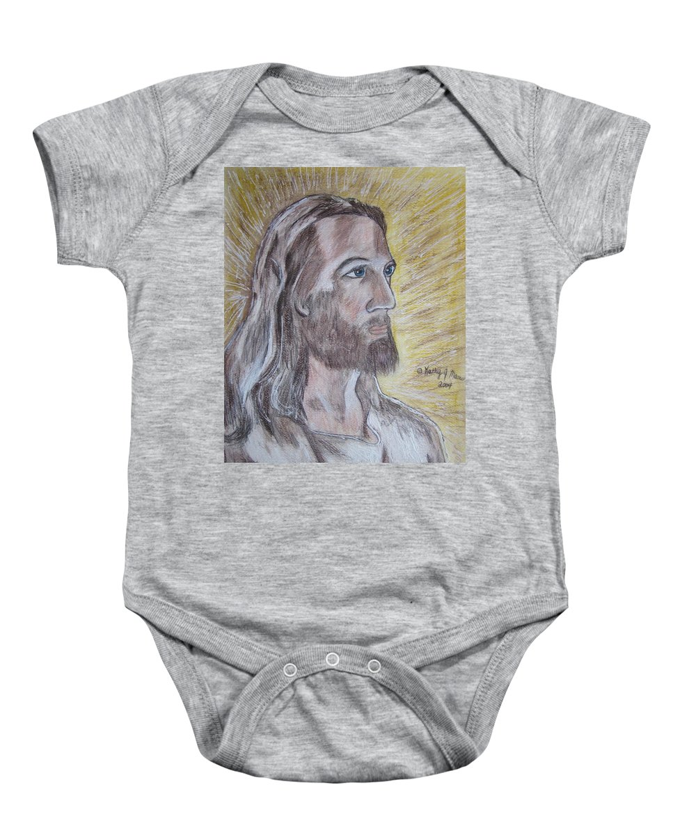 Jesus Baby Onesie featuring the painting Jesus by Kathy Marrs Chandler