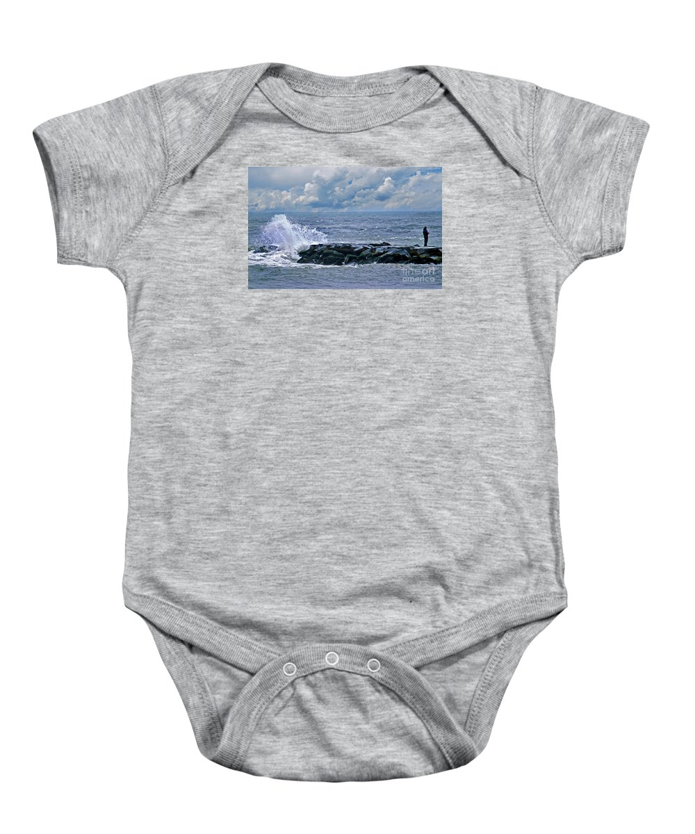 Scenic Tours Baby Onesie featuring the photograph Jetty Junkie by Skip Willits