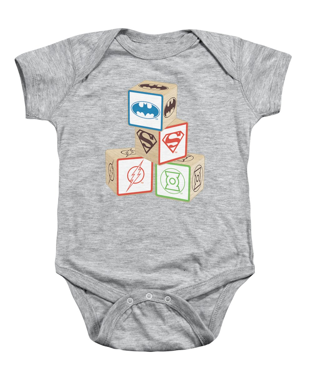 Justice League Of America Baby Onesie featuring the digital art Jla - Baby Block by Brand A