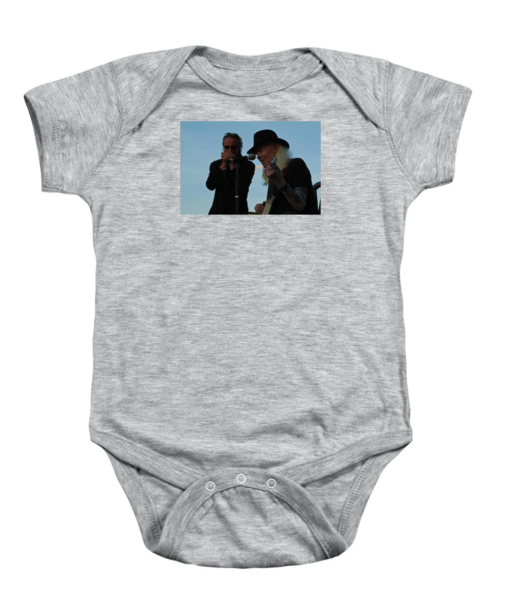 Blues Baby Onesie featuring the photograph Johnny Winter And James Montgomery Playing The Blues by Mike Martin