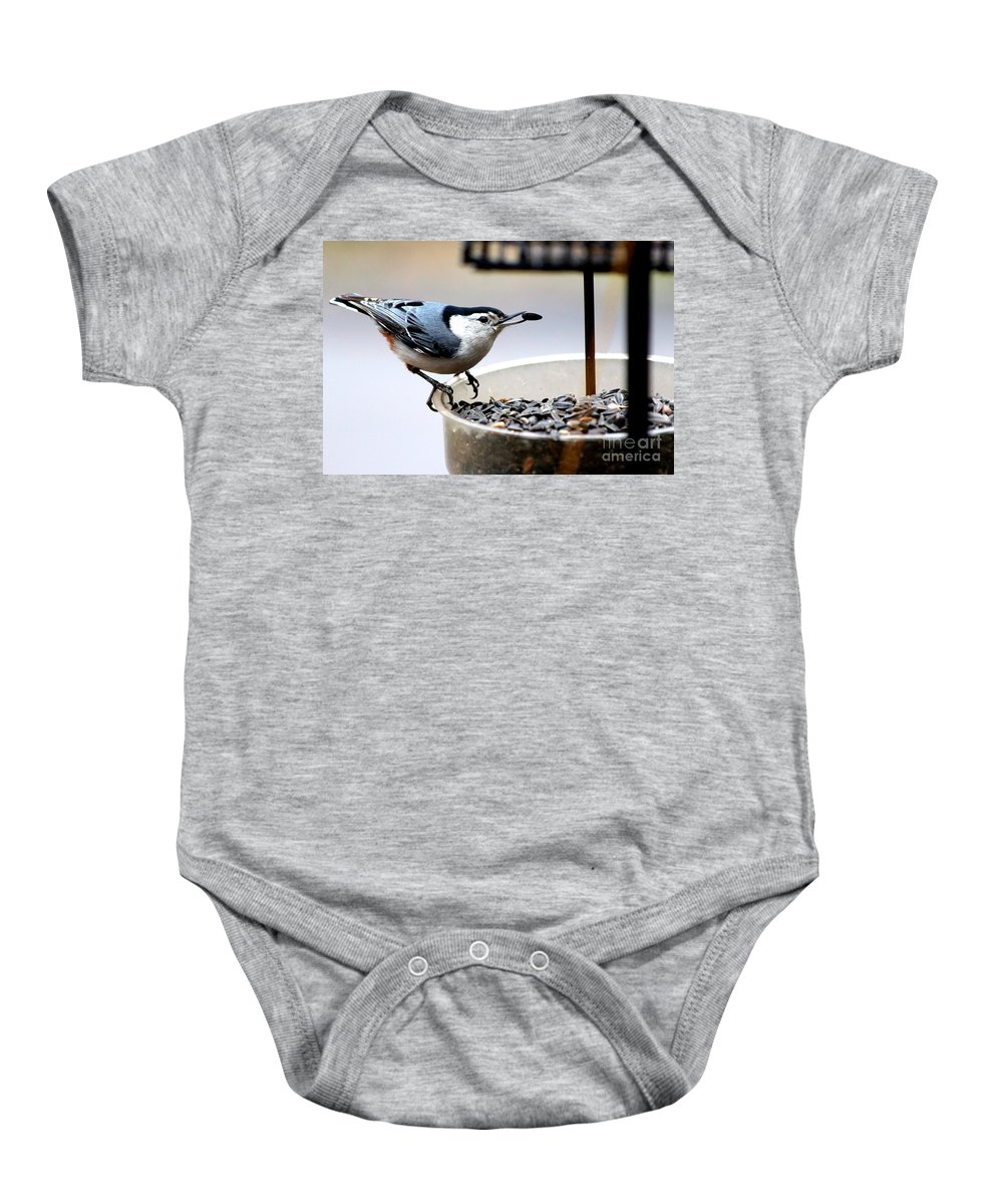 White Breasted Nuthatch Baby Onesie featuring the photograph Join Me For A Bite by Kathy White