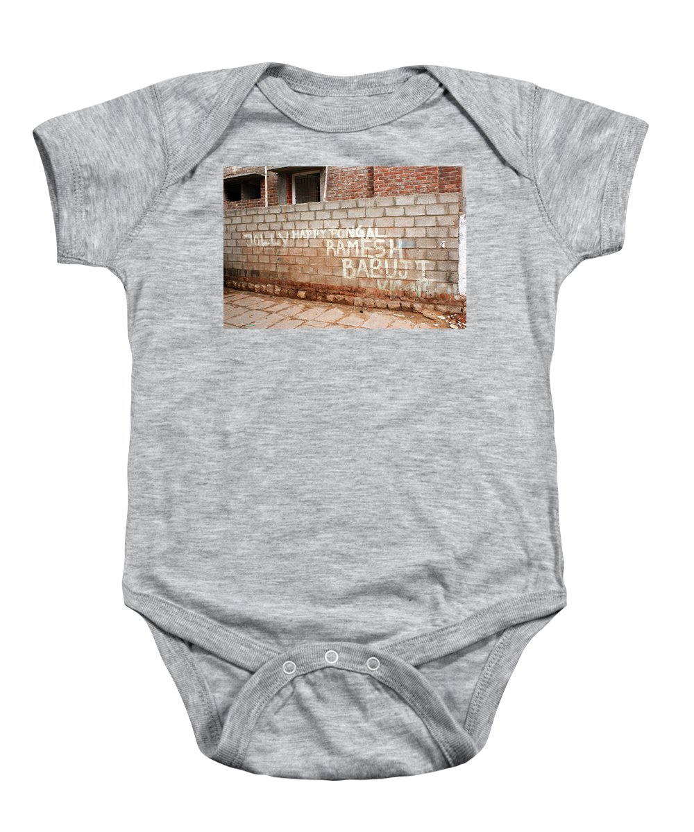 Graffiti Baby Onesie featuring the photograph Jolly Happy Pongal by Helix Games Photography
