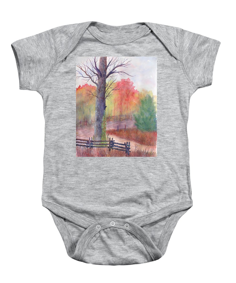 Fall Baby Onesie featuring the painting Joy of Fall by Ben Kiger