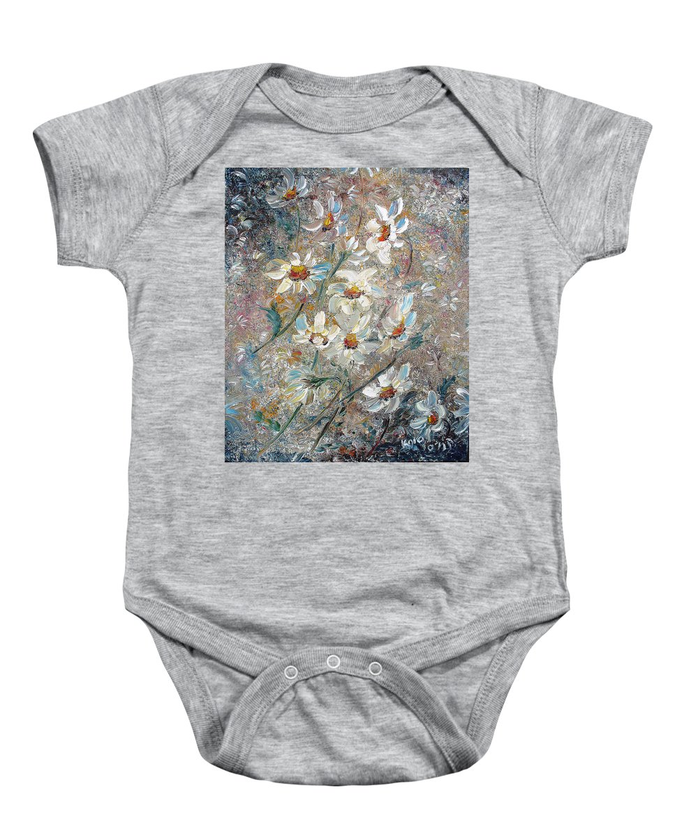 Daisies Painting Abstract Flower Painting Botanical Painting Bloom Greeting Card Painting Baby Onesie featuring the painting Just Dasies by Karin Dawn Kelshall- Best