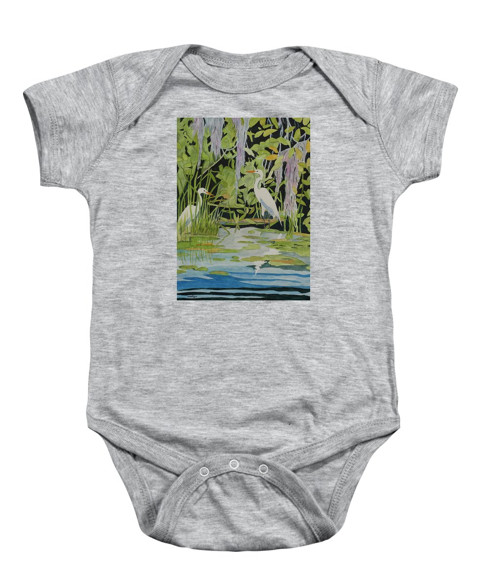 Contemporary Watercolor Fine Art Painting Baby Onesie featuring the painting Just Friends by John Edebohls